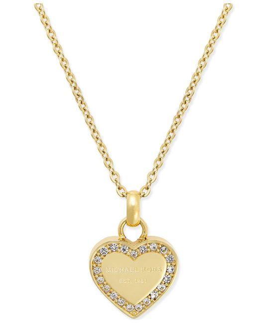 Michael Kors   Metallic Crystal Heart Pendant Necklace   Lyst