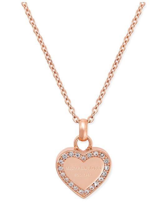 Michael Kors   Pink Crystal Heart Pendant Necklace   Lyst