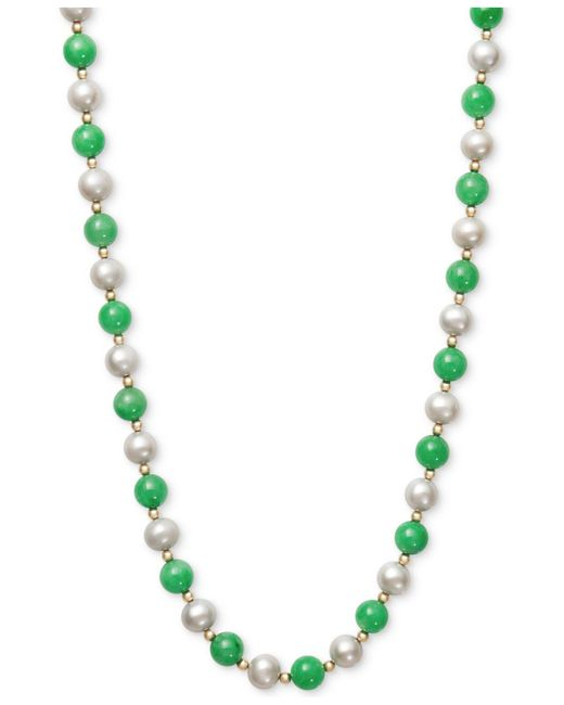 Macy's - Green Cultured Freshwater Pearl And Jade Necklace In 14k Gold - Lyst