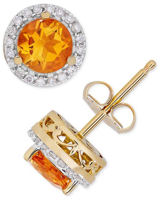 Macy's - Metallic Birthstone & Diamond (1/8 Ct. T.w.) Halo Stud Earrings In 14k Gold - Lyst