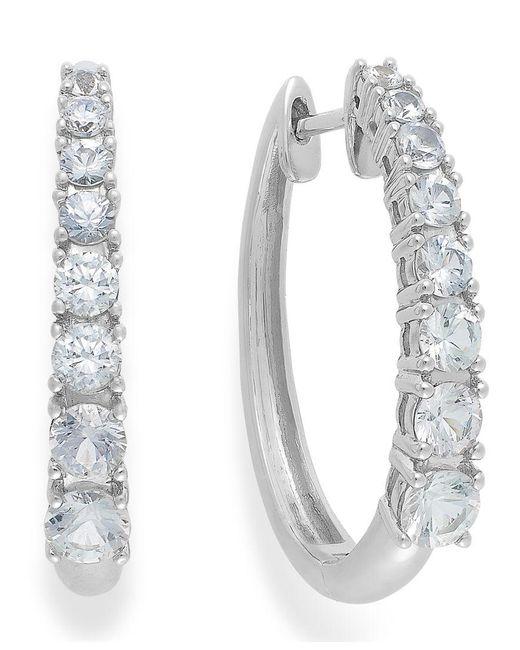 Macy's | Metallic White Sapphire Hoop Earrings In 14k White Gold (2-1/3 Ct. T.w.) | Lyst