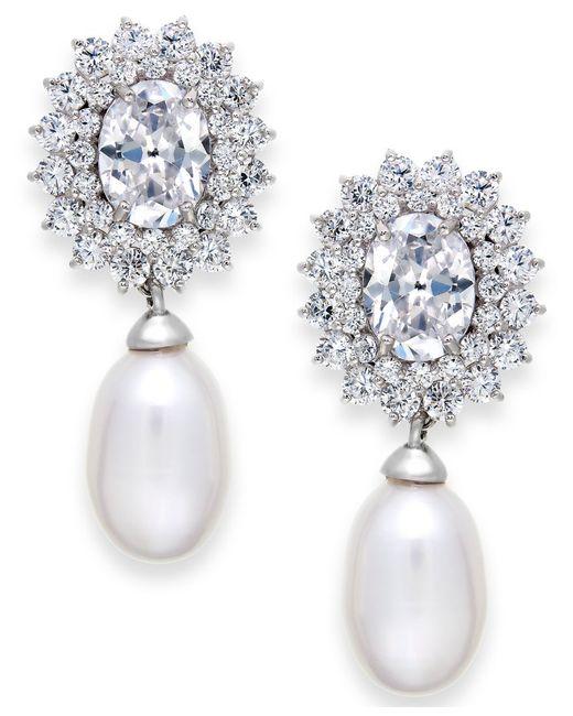 Arabella | Metallic Cultured Freshwater Pearl (8mm) And Swarovski Zirconia Earrings In Sterling Silver | Lyst
