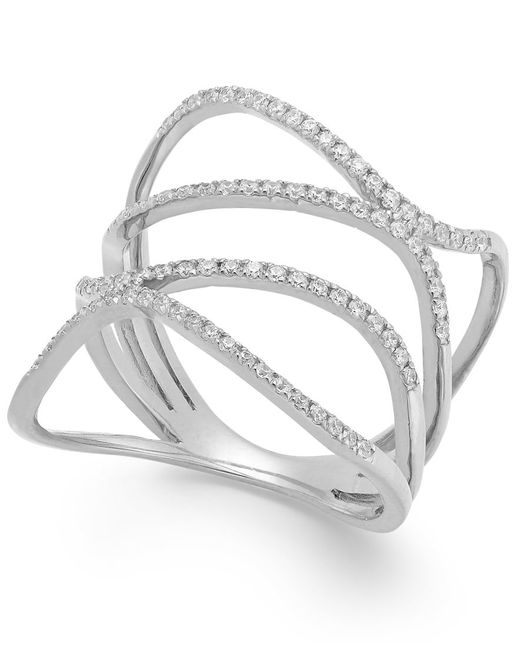 Macy's | Diamond Wavy Ring In 14k White Gold (3/8 Ct. T.w.) | Lyst