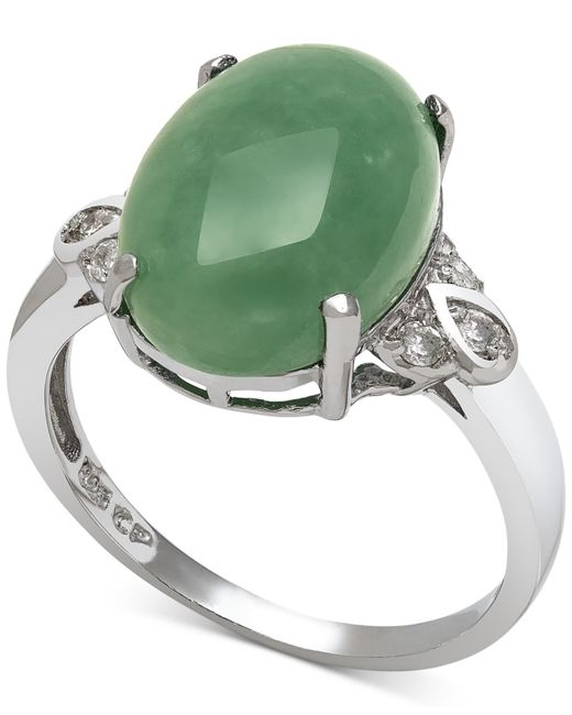 Macy's | Metallic Dyed Jade (10mm) And Diamond (1/10 Ct. T.w.) Ring In Sterling Silver | Lyst