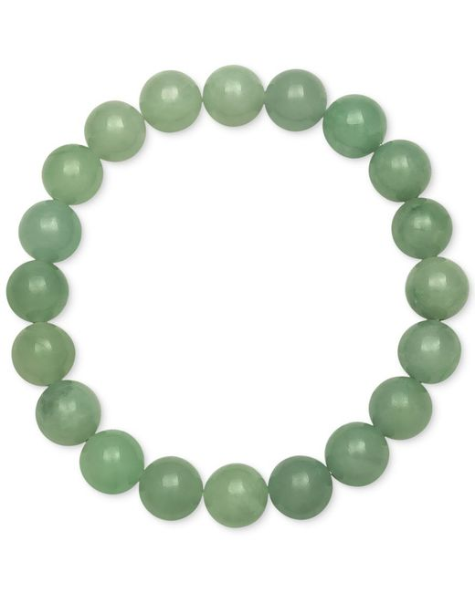Macy's   Green Dyed Jade Stretch Bracelet (10mm)   Lyst