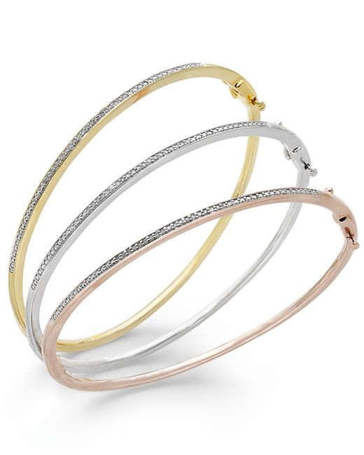 Macy's | Metallic Diamond Bangle Bracelet Trio In 14k Gold Over Sterling Silver And Sterling Silver (1/4 Ct. T.w.) | Lyst