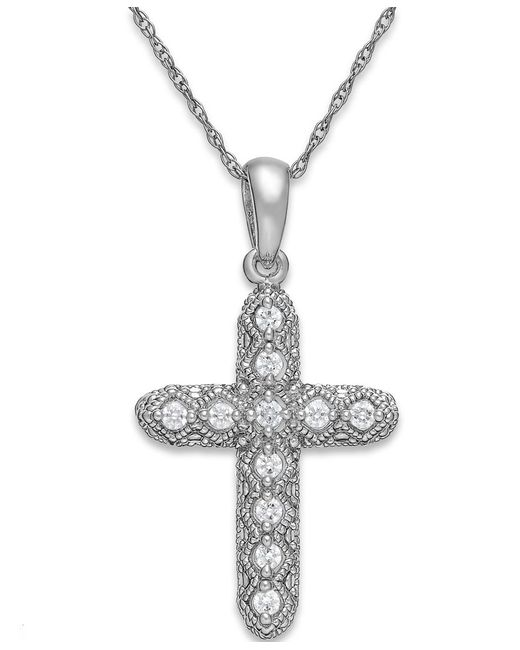 Macy's | Diamond Cross Pendant Necklace In 14k White Gold (1/8 Ct. T.w.) | Lyst