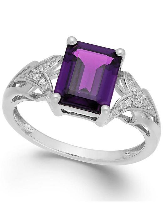 Macy's | Amethyst (2 Ct. T.w.) And Diamond Accent Ring In 14k White Gold | Lyst