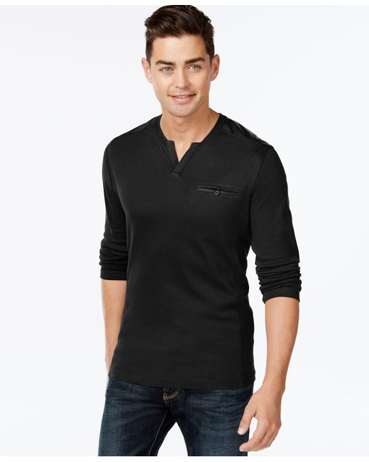 INC International Concepts   Black Men's Collude Split-neck Shirt, Only At Macy's for Men   Lyst
