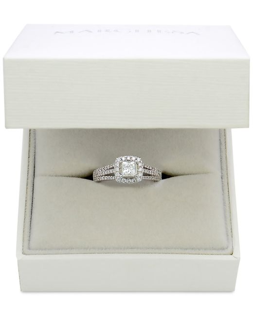 Marchesa | Celeste Halo By Certified Diamond Split Shank Engagement Ring (1-1/5 Ct. T.w.) In 18k White Gold | Lyst
