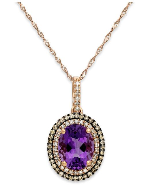 Macy's | Purple Amethyst (2-1/4 Ct. T.w.) And Diamond (1/3 Ct. T.w.) Pendant Necklace In 14k Rose Gold | Lyst