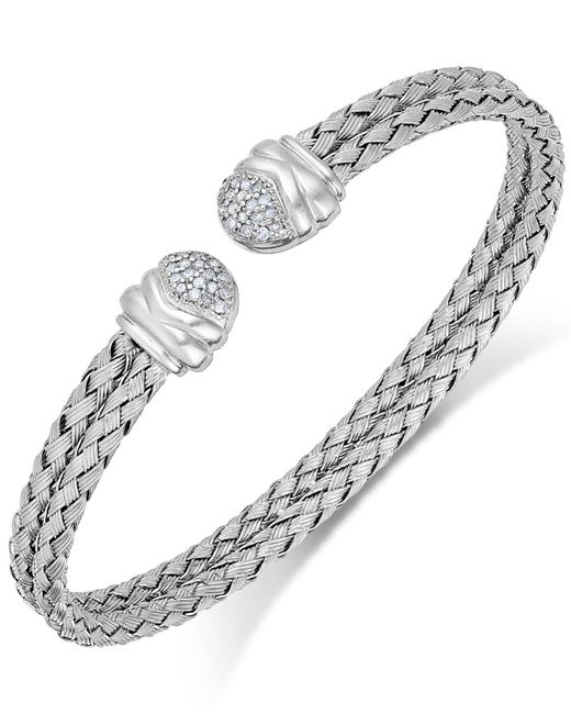 Macy's | Metallic Diamond Weave Cuff Bracelet In Sterling Silver (1/5 Ct. T.w.) | Lyst