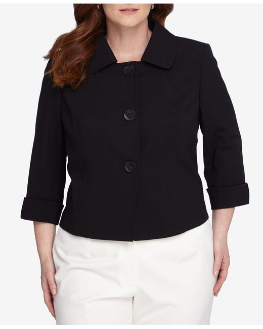 Tahari | Black Plus Size Three-button Three-quarter-sleeve Jacket | Lyst