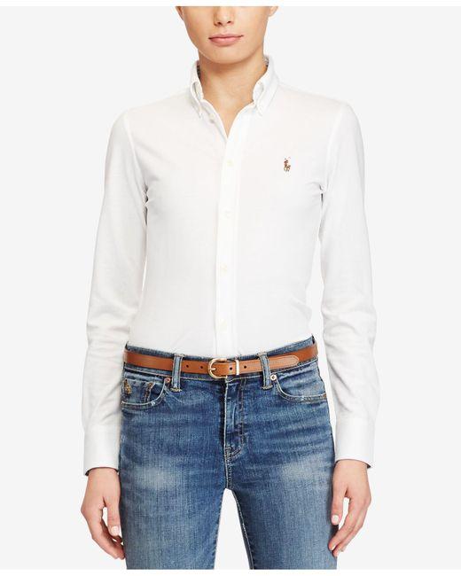 Polo Ralph Lauren   White Long-sleeve Button-front Shirt   Lyst