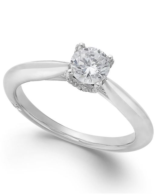 Marchesa   Classic By Certified Diamond Solitaire Engagement Ring In 18k White Gold (1/2 Ct. T.w.)   Lyst