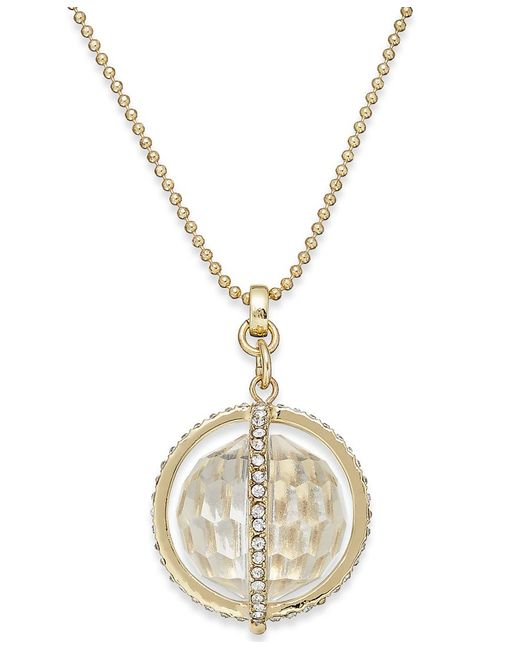 ABS By Allen Schwartz | Metallic Gold-tone Faceted Ball And Crystal Pave Pendant Necklace | Lyst