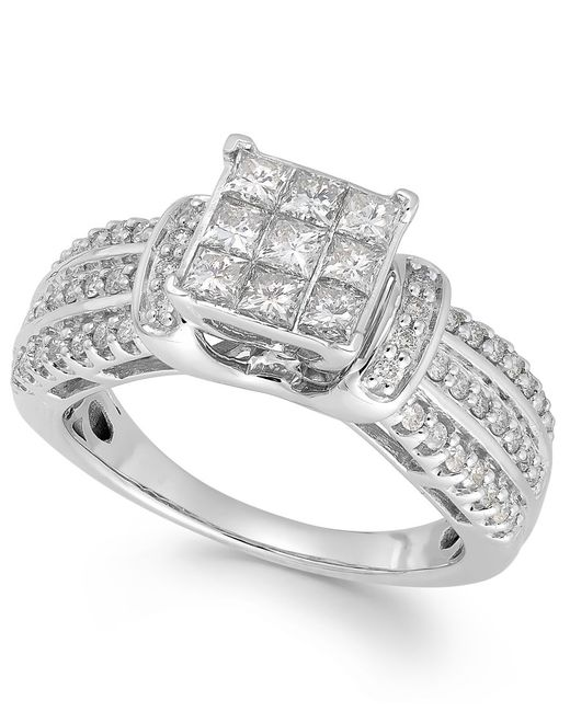Macy's | Metallic Diamond Square Halo Ring In 14k White Gold (1 Ct. T.w.) | Lyst