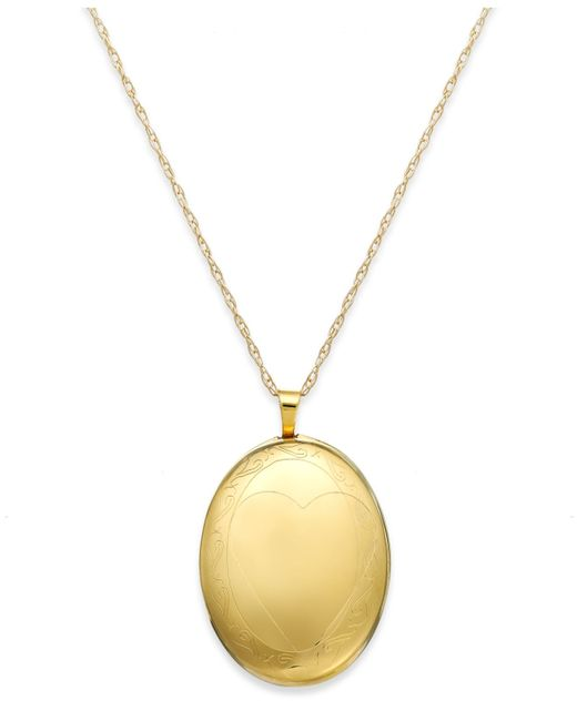 Macy's | Metallic Swirl Oval Locket Necklace In 14k Gold | Lyst