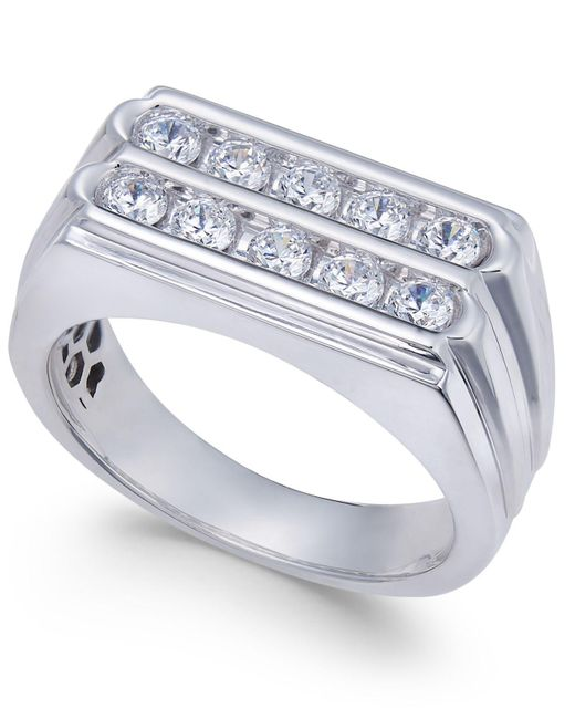 Macy's Metallic Men's Diamond Two-row Ring (1 Ct. T.w.) In 10k White Gold