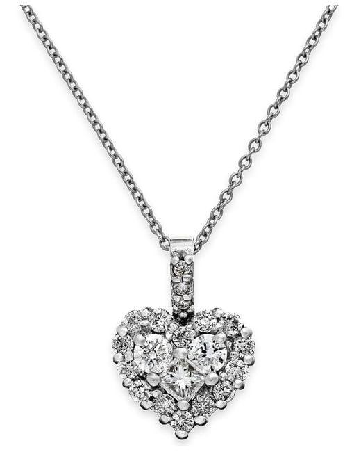 Macy's | Diamond Heart Pendant Necklace In 14k White Gold (5/8 Ct. T.w.) | Lyst