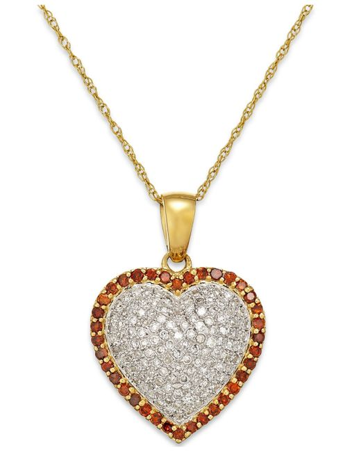 Macy's | Metallic White And Red Diamond Heart Pendant Necklace In 10k Gold (1/2 Ct. T.w.) | Lyst