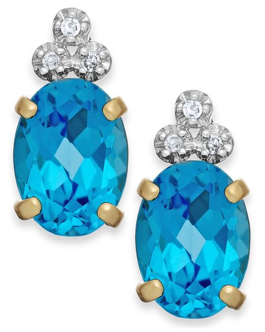 Macy's | Blue Topaz (2-1/5 Ct. T.w.) And Diamond Accent Stud Earrings In 10k Gold | Lyst