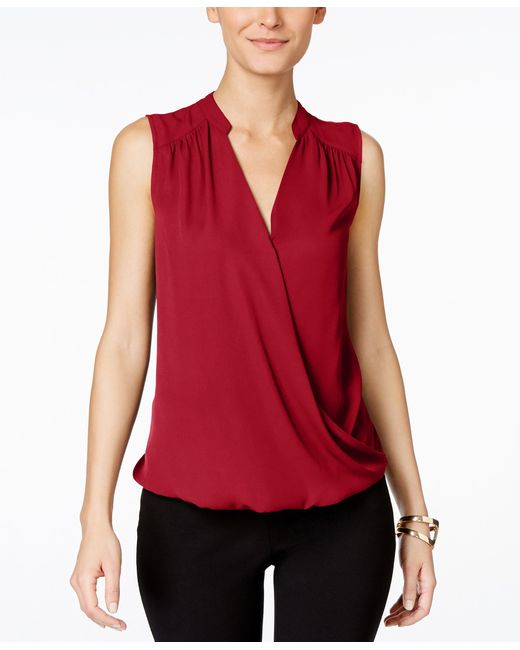 INC International Concepts   Red Sleeveless Surplice Top, Only At Macy's   Lyst