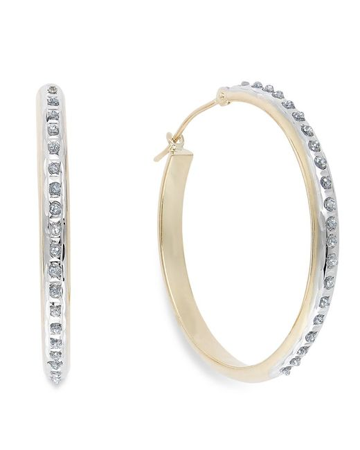 Macy's | Blue Diamond Accent Hoop Earrings In 14k Yellow Or White Gold | Lyst