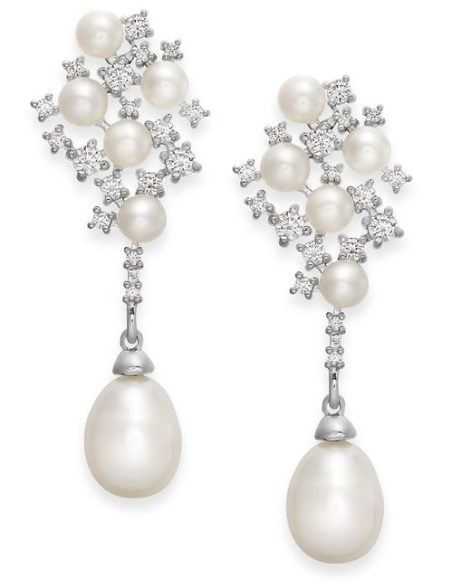 Arabella   Metallic Cultured Freshwater Pearl And Swarovski Zirconia Drop Earrings In Sterling Silver (4 & 8mm)   Lyst