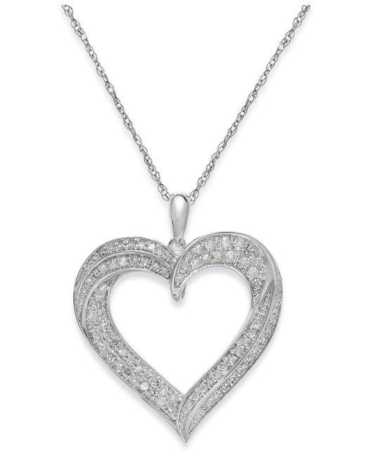 Macy's | Metallic Diamond Heart Pendant Necklace In Sterling Silver (1/3 Ct. T.w.) | Lyst