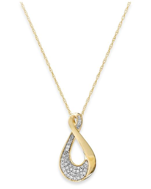 Macy's | Metallic Cubic Zirconia Swirl Pendant Necklace In 10k Gold | Lyst