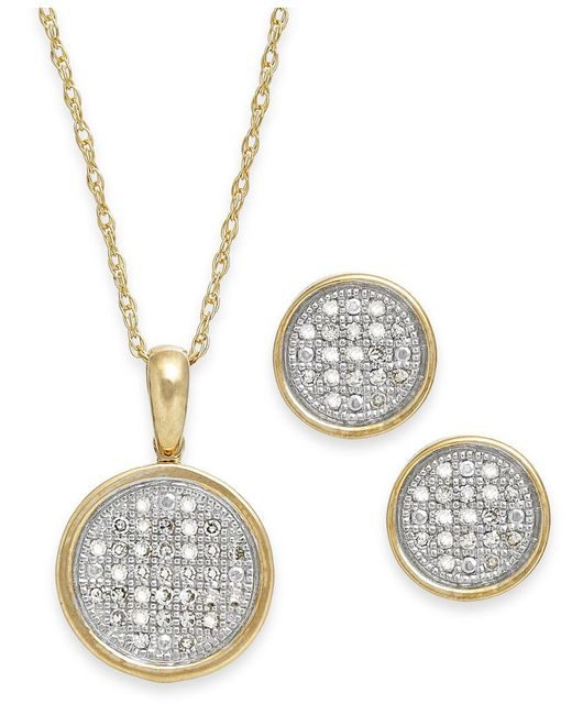 Macy's | Metallic Diamond Disc Jewelry Set In 10k Gold (1/5 Ct. T.w.) | Lyst