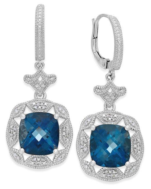 Macy's | London Blue Topaz (7 Ct. T.w.) And Diamond (1/7 Ct. T.w.) Earrings In Sterling Silver | Lyst