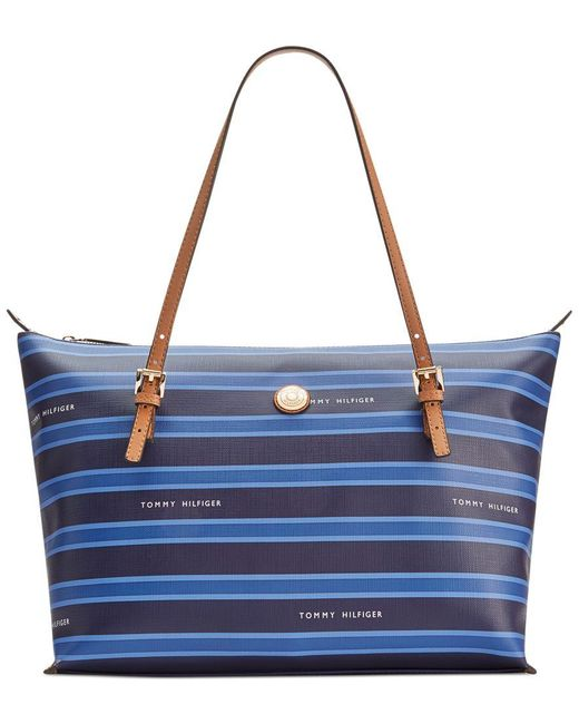 Tommy Hilfiger   Blue Th Stripe Large Convertible Tote   Lyst