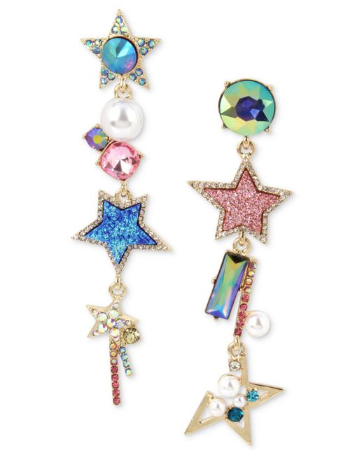 Betsey Johnson | Multicolor Gold-tone Multi-stone, Star & Imitation Pearl Mismatch Linear Drop Earrings | Lyst