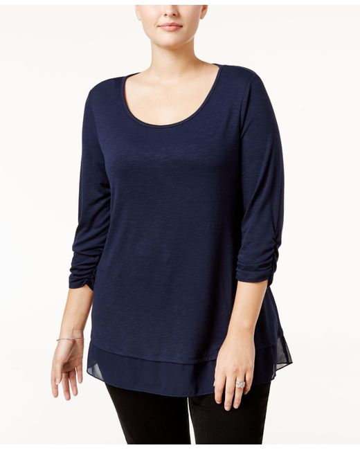 Style & Co.   Blue Plus Size Chiffon-hem Top, Only At Macy's   Lyst