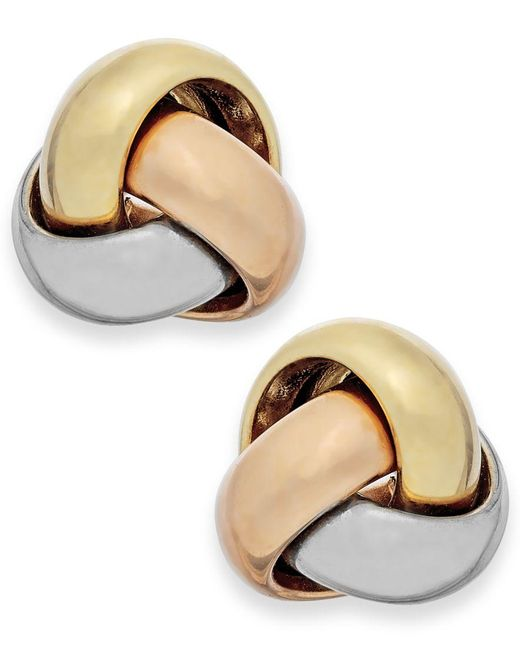 Macy's | Metallic Tri-tone Love Knot Stud Earrings In 14k Gold | Lyst