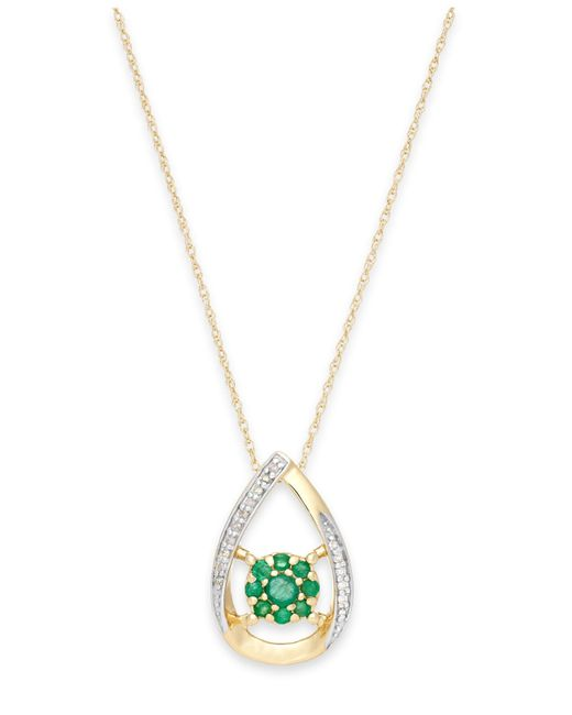 Macy's | Green Emerald (1/4 Ct. T.w.) And Diamond Accent Pendant Necklace In 14k Gold | Lyst
