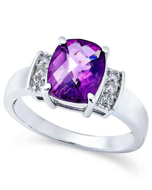 Macy's | Purple Amethyst (2-1/10 Ct. T.w.) And Diamond (1/8 Ct. T.w.) Ring In 14k White Gold | Lyst