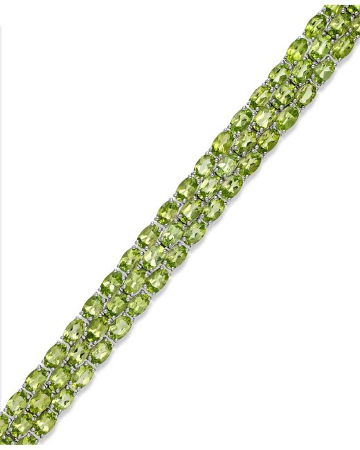 Macy's | Metallic Peridot Three-row Bracelet In Sterling Silver (25 Ct. T.w.) | Lyst