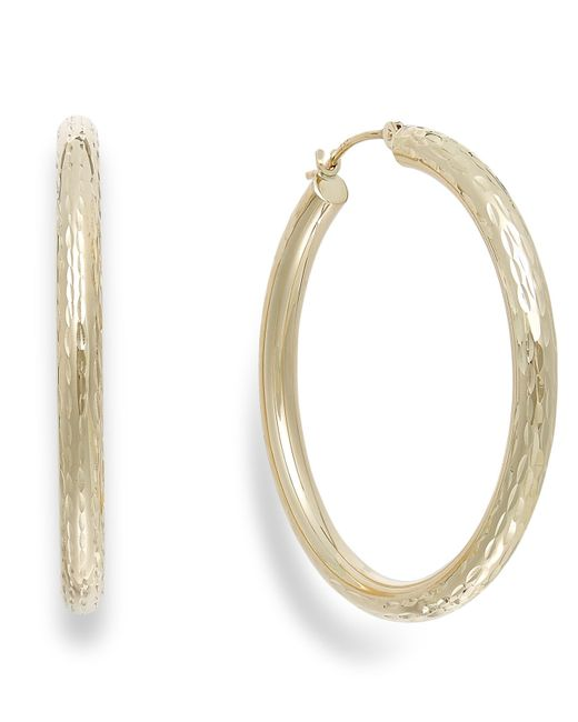 Macy's | Metallic Diamond-cut Hoop Earrings In 10k Gold, 40mm | Lyst