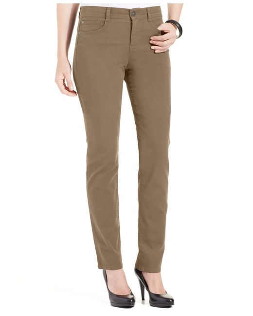 Style & Co. | Brown Petite Slim-leg Tummy-control Jeans | Lyst