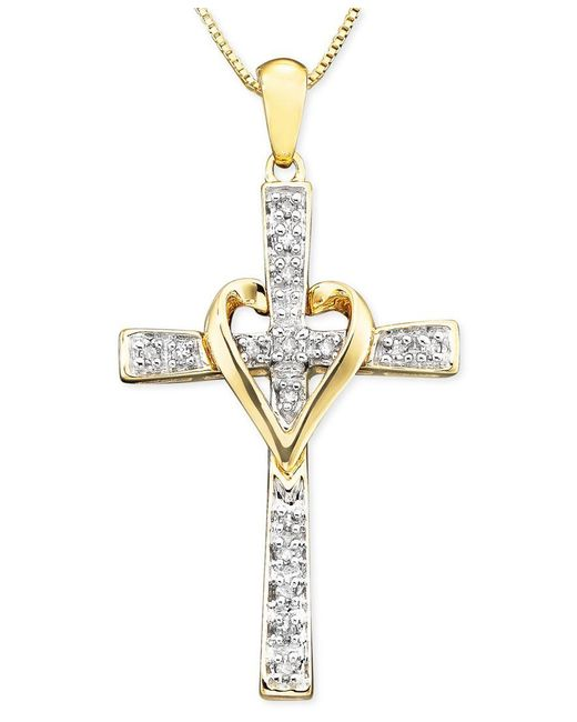 Macy's | Metallic Cross Diamond Pendant Necklace In 14k Yellow Or White Gold (1/10 Ct. T.w.) | Lyst