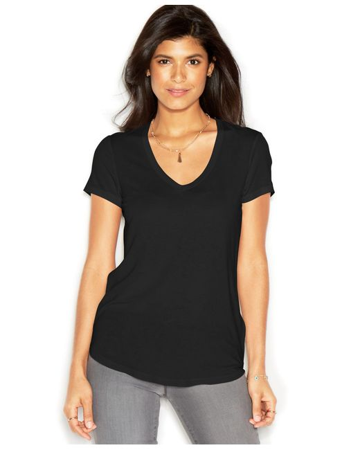RACHEL Rachel Roy | Black V-neck T-shirt, Only At Macy's | Lyst
