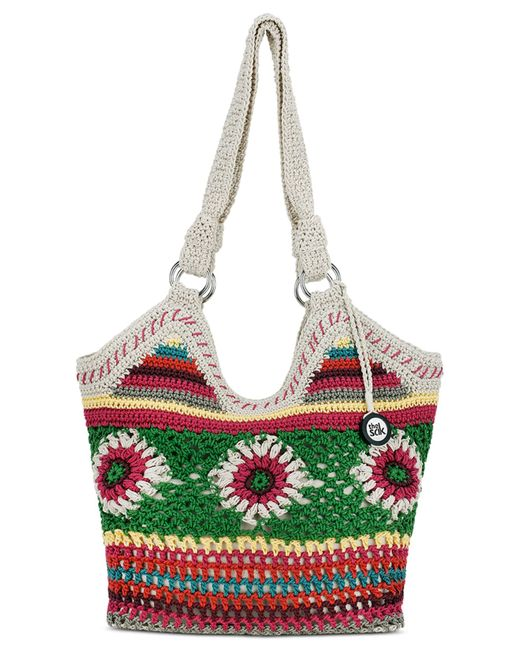 The Sak Bags Crochet : The sak Ellis Crochet Small Tote in Green (Multi Floral) - Save 45% ...