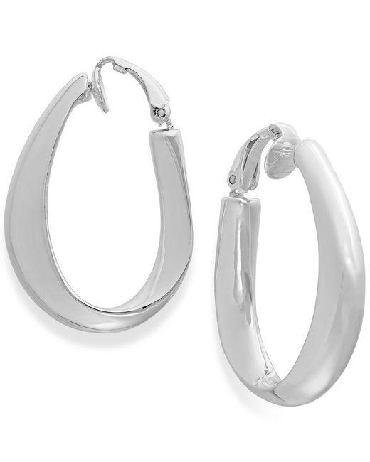 Lauren by Ralph Lauren | Metallic Silver-tone Sculpted Clip-top Hoop Earrings | Lyst