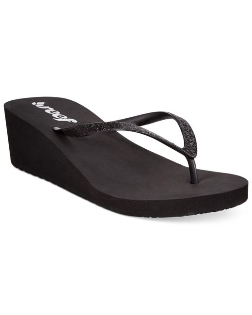 Reef | Black Krystal Star Wedge Thong Sandals | Lyst