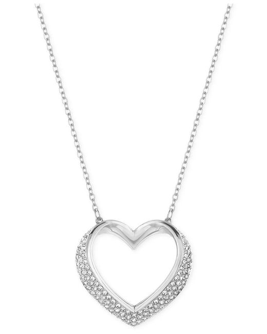 Swarovski | Metallic Cupidon Rhodium-tone Crystal Heart Pendant Necklace | Lyst