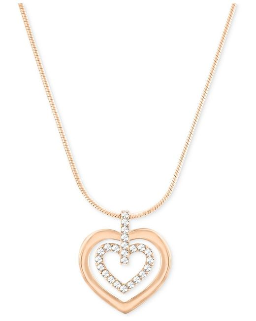 Swarovski | Metallic Circle Heart Crystal And Two-tone Pendant Necklace | Lyst