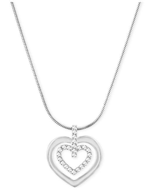 Swarovski | Metallic Circle Double Heart Pendant Necklace | Lyst